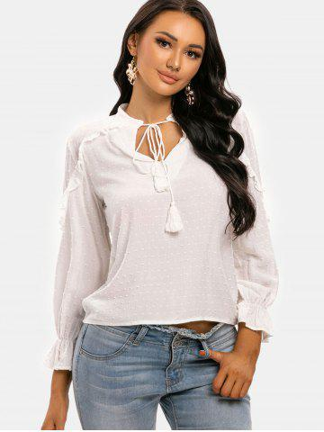 Swiss Dot Tassel Tie Frilled Long Sleeve Blouse