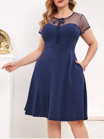Keyhole Back Dotted Mesh Tie Collar Plus Size Dress