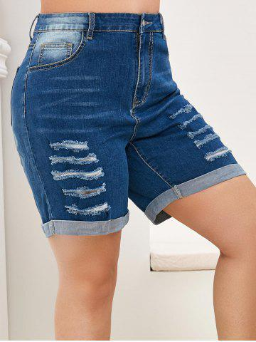 Plus Size Distressed Rolled High Waisted Denim Shorts - BLUE - 4X