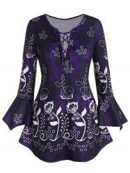 Plus Size Lace Up Bell Sleeve Floral Print T Shirt -