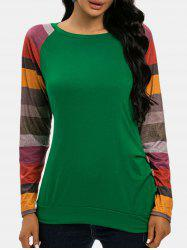 Colorblock Sleeves Ruched Blouson Top -