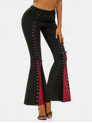 Colorblock Lace Up Bell Bottom Pants -