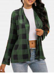 Plaid Collarless Elbow Patched Cardigan -