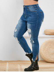 Plus Size High Rise Ripped Eyelet Frayed Jeans -