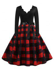 Scalloped Plaid Print Belted A Line Retro Dress -