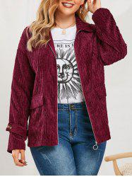 Plus Size Corduroy Flap Pockets Jacket -