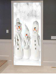 Christmas Snowman Family Print Decorative Door Art Stickers -