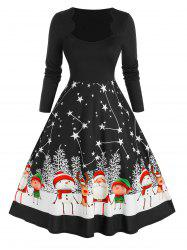 Plus Size Christmas Scalloped Santa Claus Star A Line Dress -