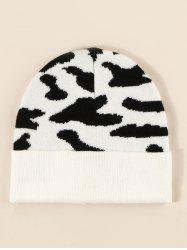 Colorblock Cow Print Knitted Beanie -