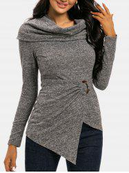 Cowl Neck Foldover O Ring Draped Knitwear -