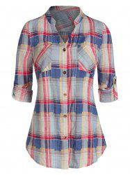 Plaid Print Double Pockets Shirt -
