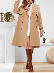 Plus Size Double Breasted Long Trench Coat -