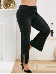 Plus Size Slit Cuffs High Waisted Jeans -