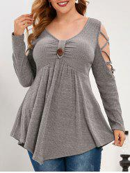 Plus Size Knitted Cold Shoulder Criss Cross Knotted Top -