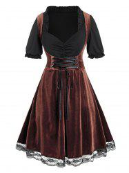 Plus Size Velvet Lace-up Ruched A Line Dirndl Dress -