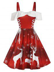 Christmas Elk Snowflake Print Cold Shoulder Lace-up Dress -