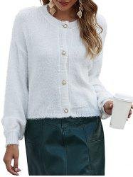 Button Up Drop Shoulder Eyelash Cardigan -