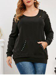Plus Size Raglan Sleeve Ripped Rivet Sweatshirt -