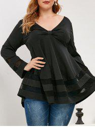 Plus Size Knotted Plunging Mesh Insert T Shirt -