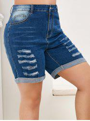 Plus Size Distressed Rolled High Waisted Denim Shorts -
