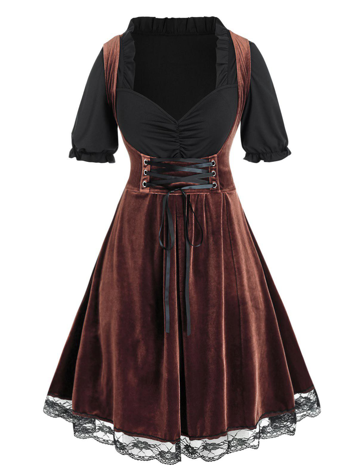 Buy Plus Size Velvet Lace-up Ruched A Line Dirndl Dress