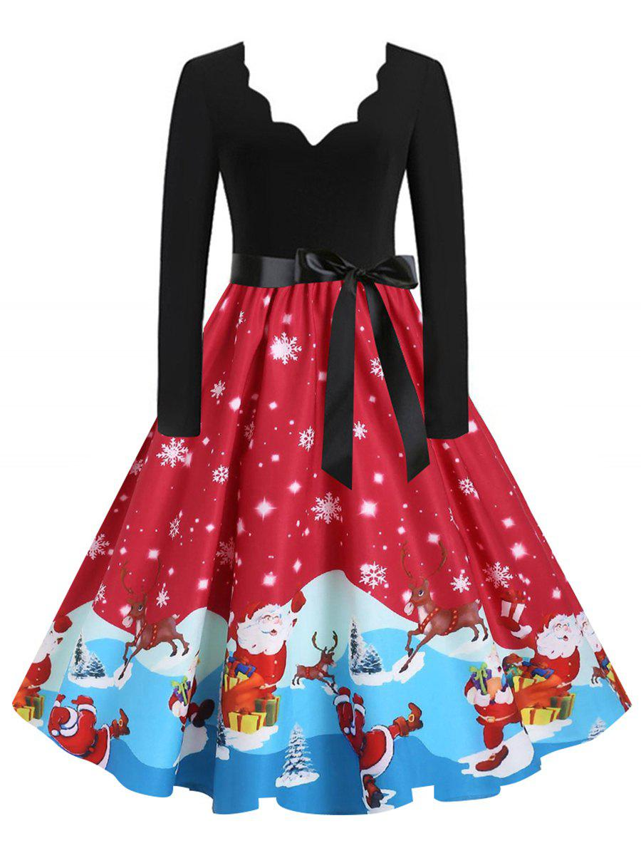 Store Santa Claus Cat Elk Christmas Scalloped Belted Dress