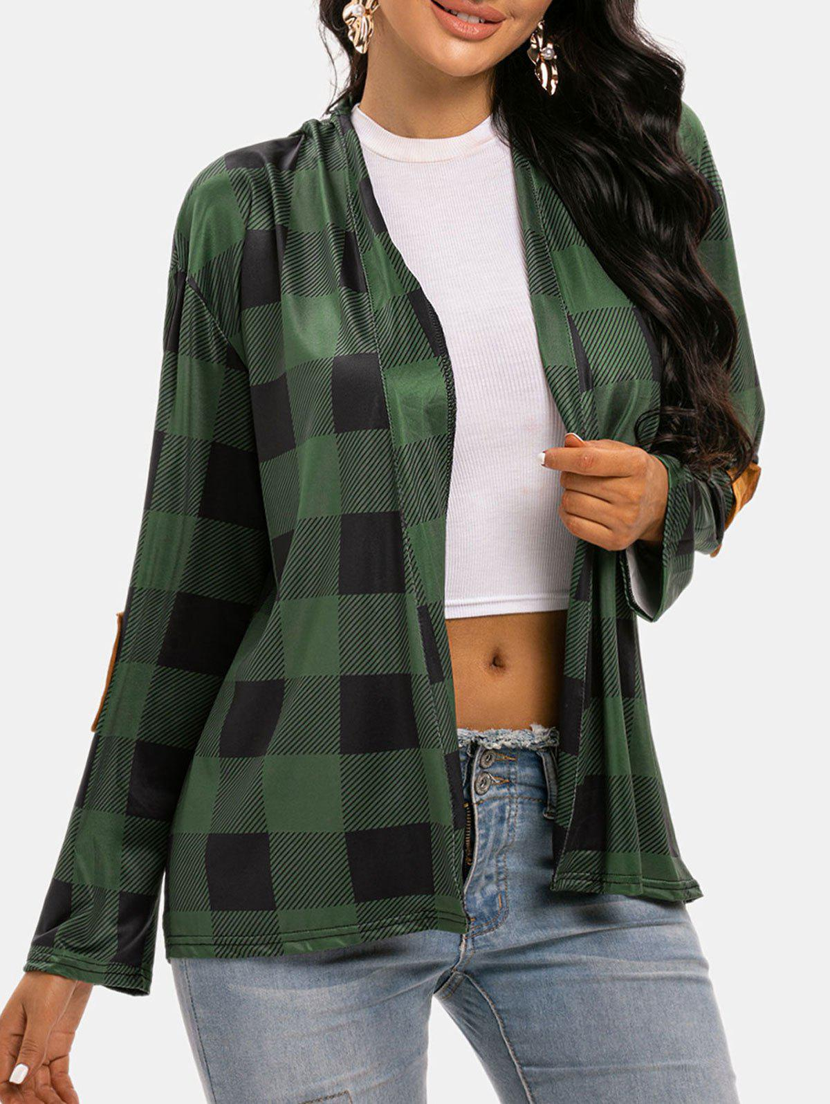 Outfit Plaid Collarless Elbow Patched Cardigan