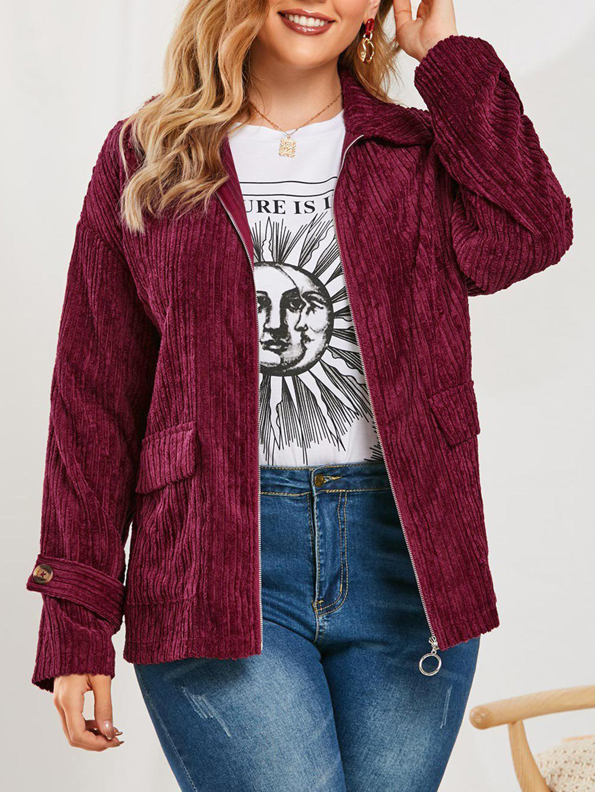 Outfit Plus Size Corduroy Flap Pockets Jacket