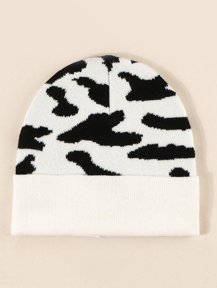 Best Colorblock Cow Print Knitted Beanie