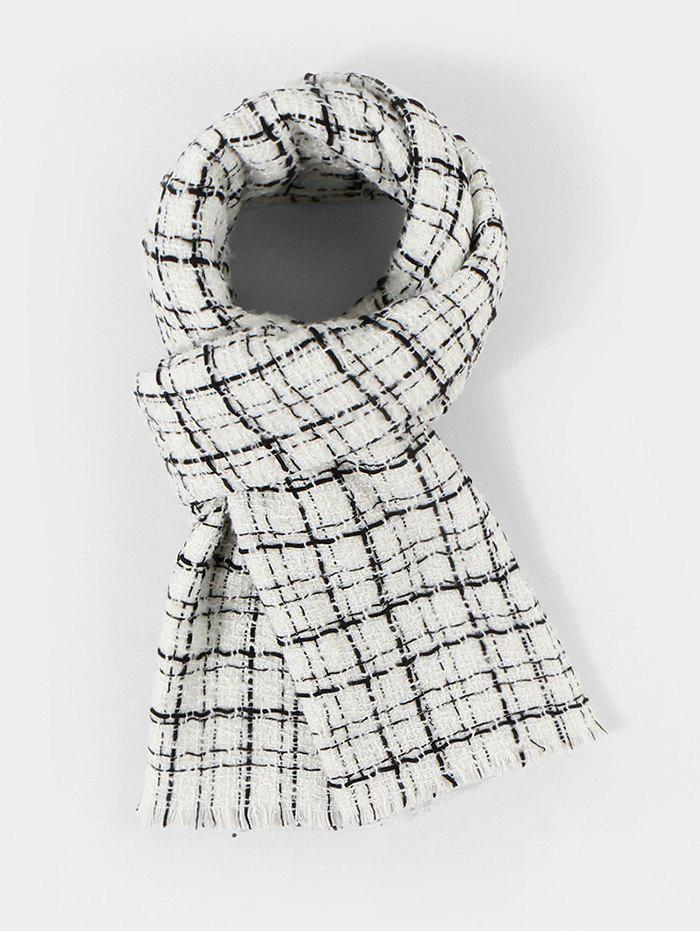Outfit Winter Plaid Pattern Bicolor Fringe Scarf