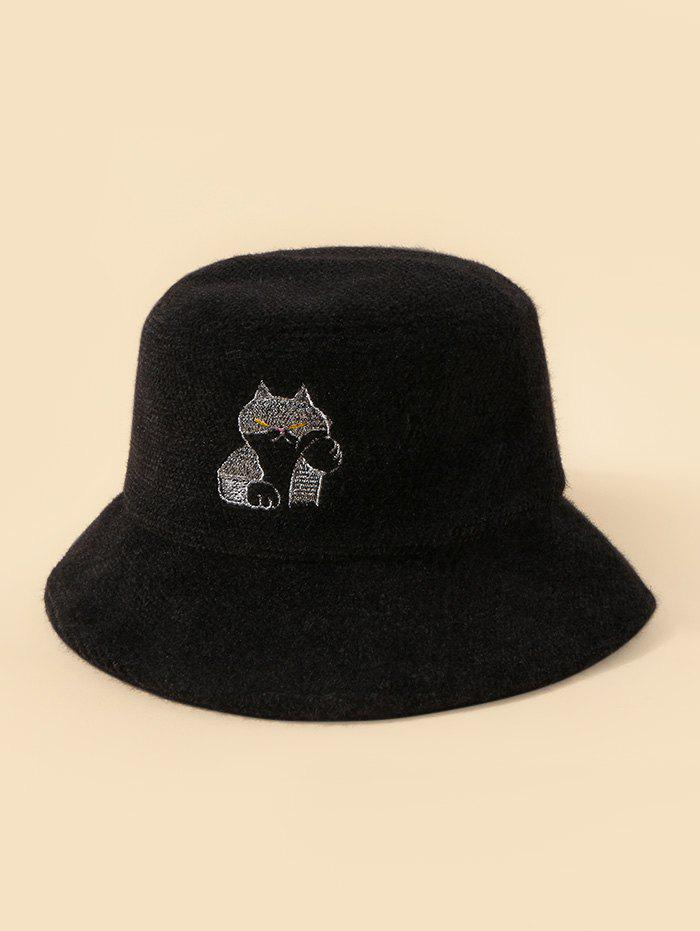 Outfit Embroidery Cat Pattern Fuzzy Bucket Hat