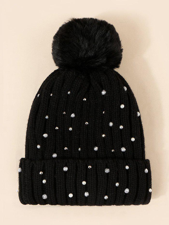 Unique Faux Pearl Rivet Plush Knitted Bubble Hat