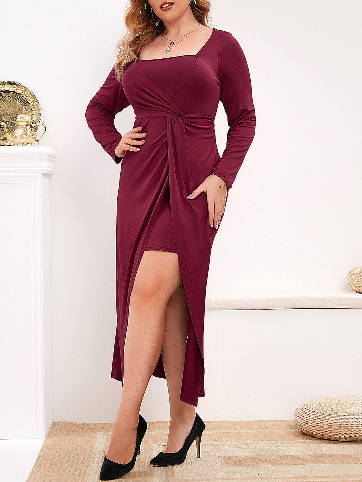 Outfits Plus Size Front Twist Midi Party Dress