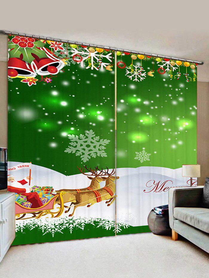 Chic 2 Panels Christmas Sleigh Bell Print Window Curtains