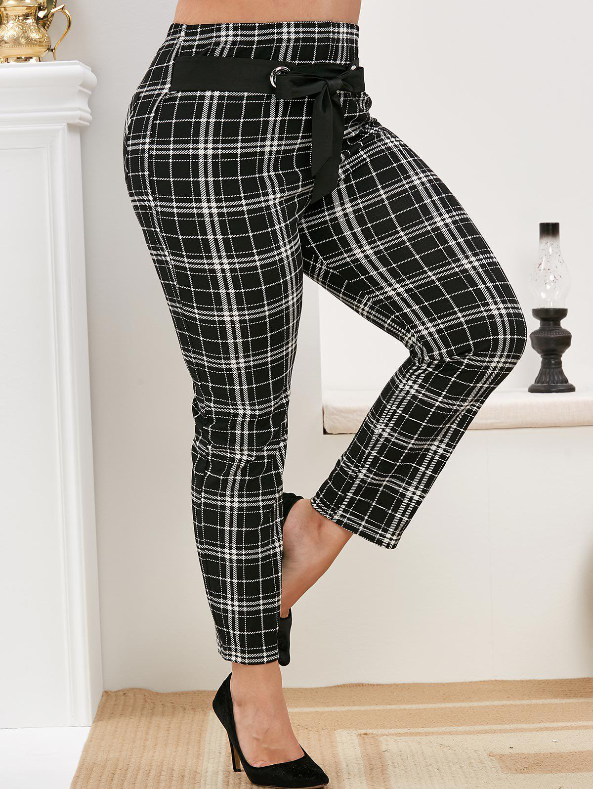 Outfits Plus Size Plaid Belted Pants