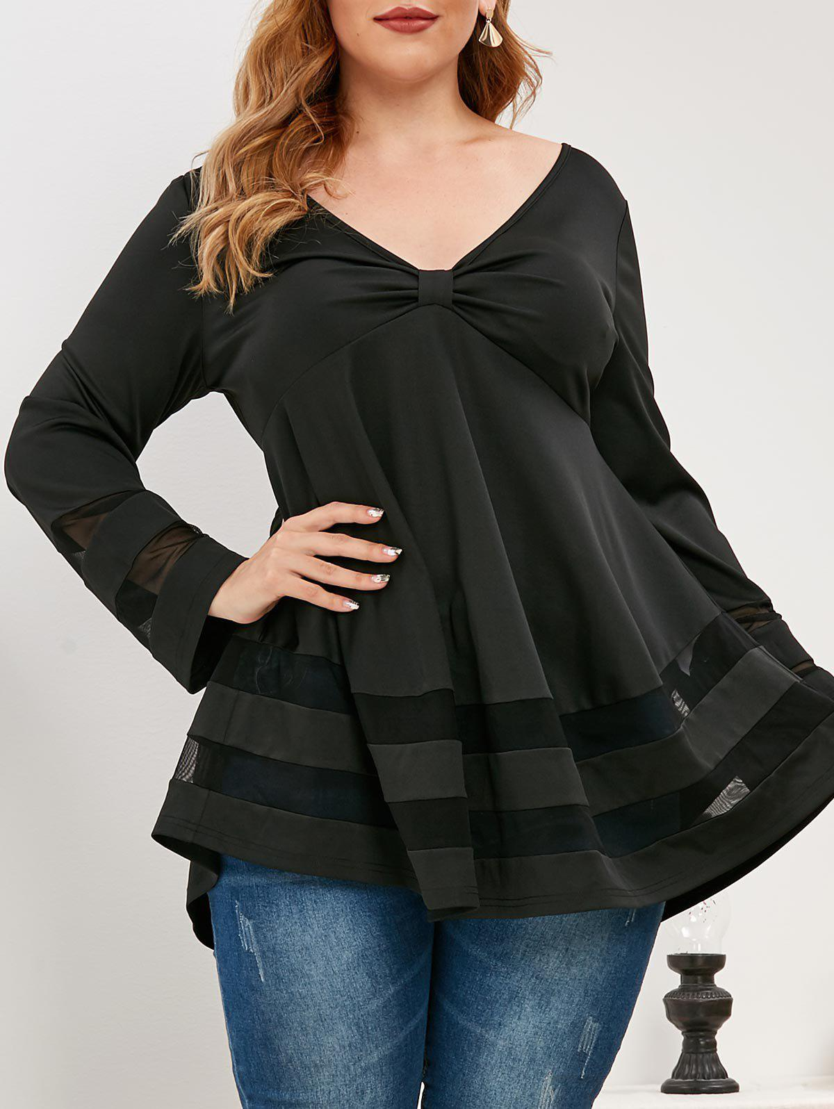 Fashion Plus Size Knotted Plunging Mesh Insert T Shirt