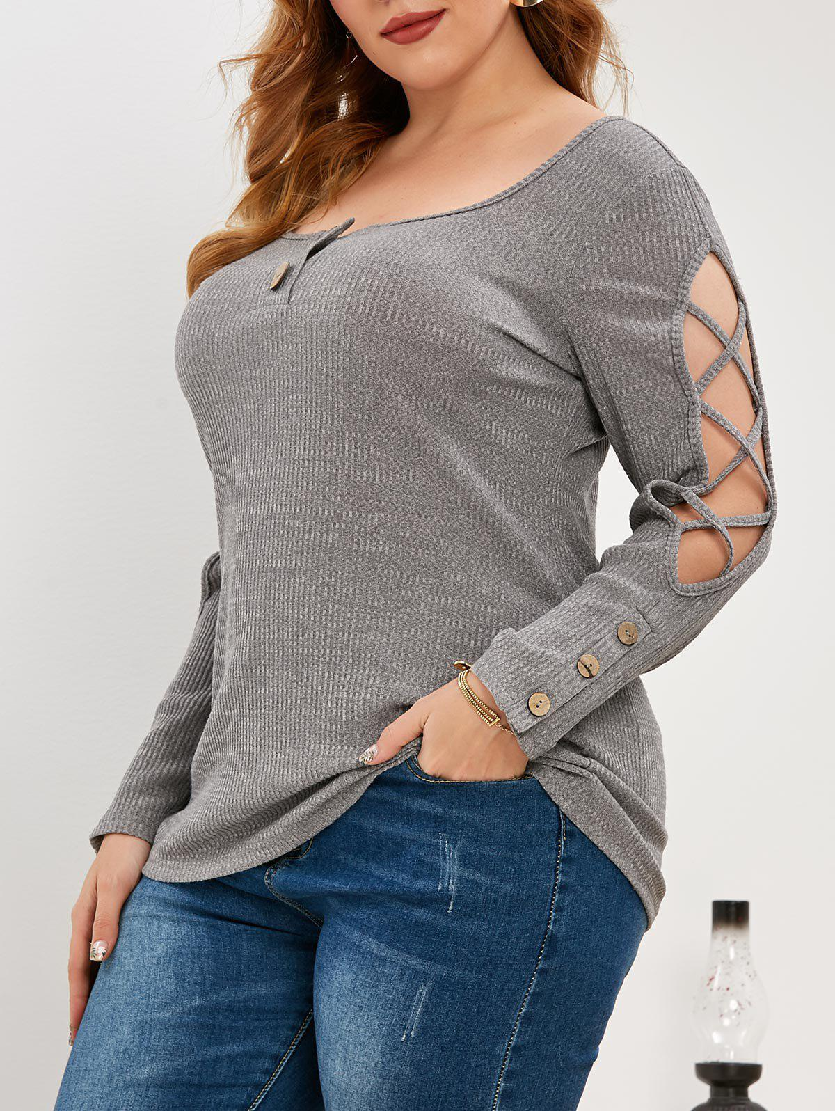 Latest Plus Size Criss Cross Knitted Henley Top