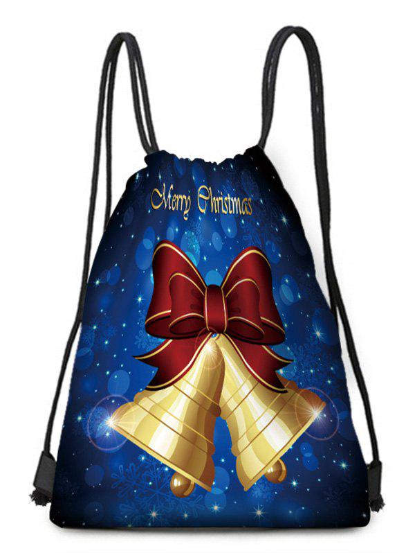 Sale Christmas Bell Bowknot Printed Cinched Bag