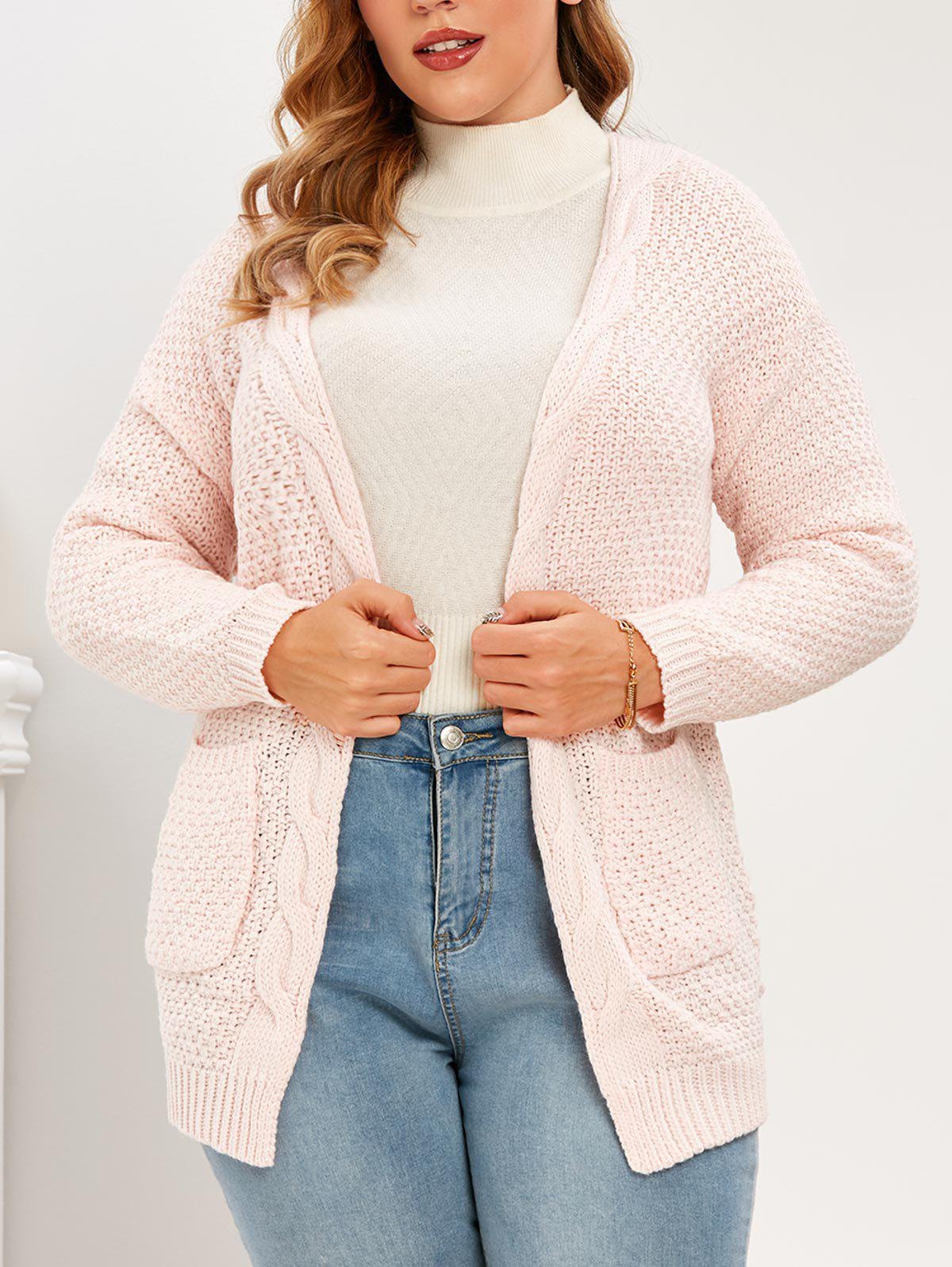 Fancy Plus Size Pockets Open Front Chunky Cardigan