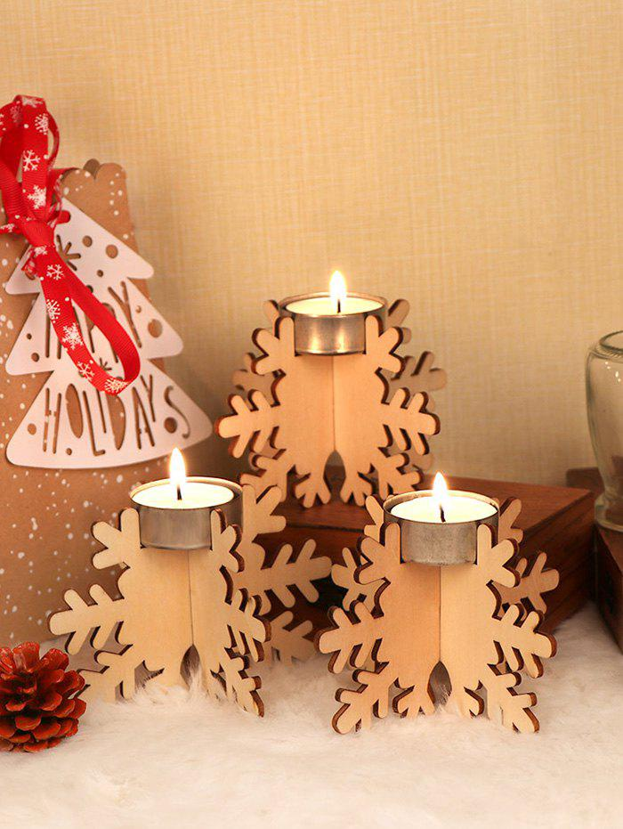 Online 6 Pcs Snowflake Shape Wooden Candle Holders