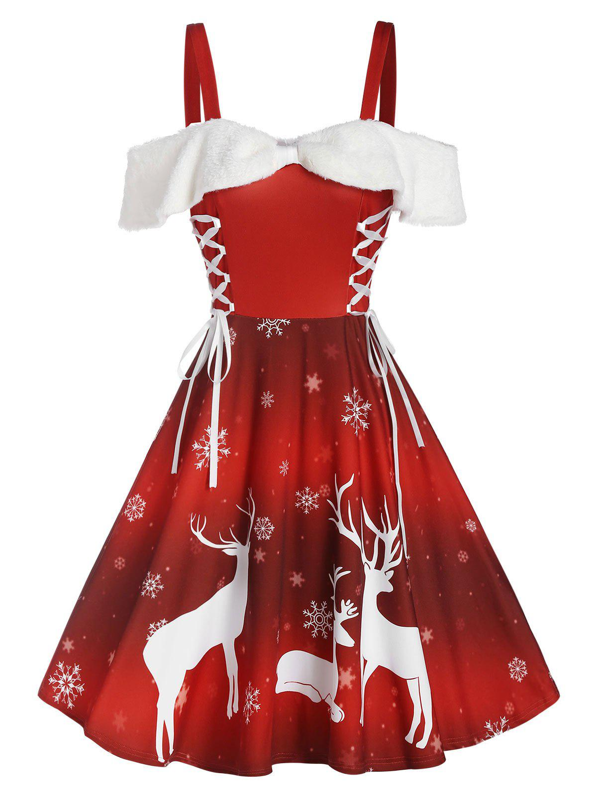 Store Christmas Elk Snowflake Print Cold Shoulder Lace-up Dress