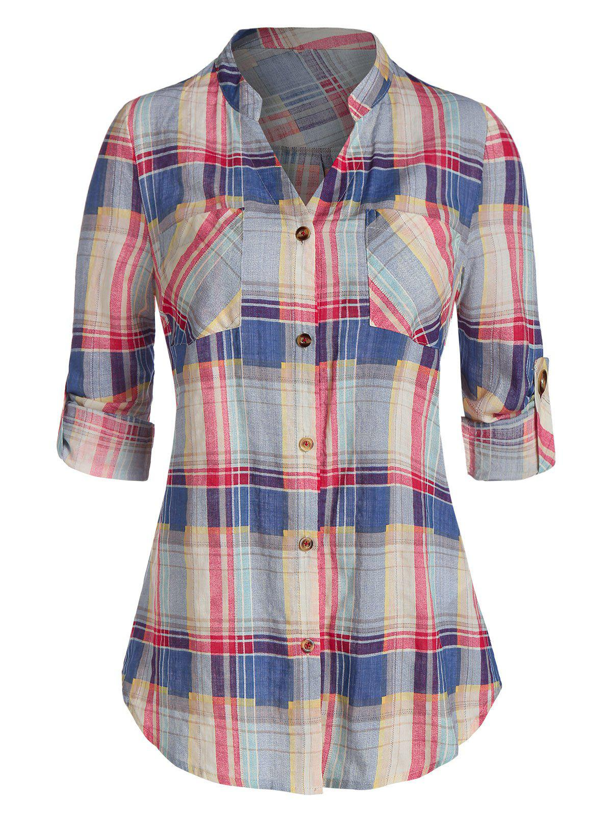 Fashion Plaid Print Double Pockets Shirt
