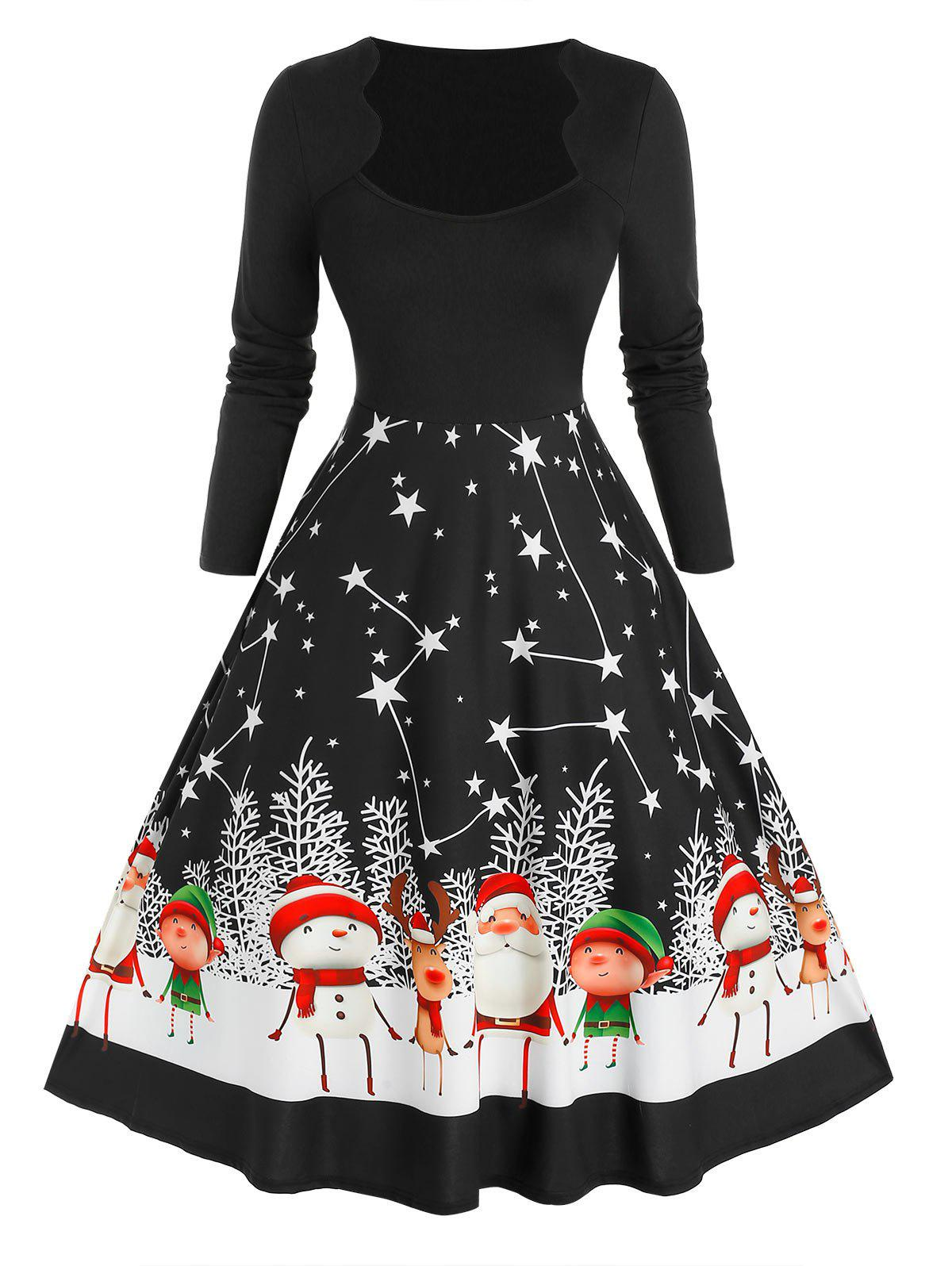 Affordable Plus Size Christmas Scalloped Santa Claus Star A Line Dress