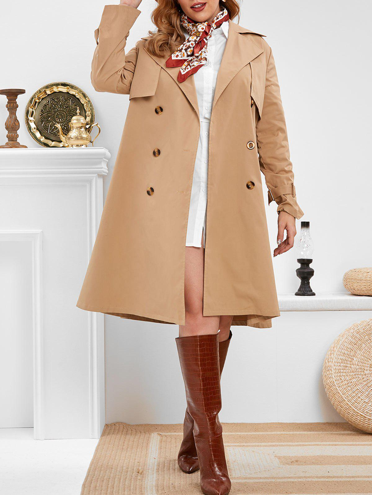 Trench-Coat Long avec Double Boutonnage Grande-Taille Marron Camel 5X