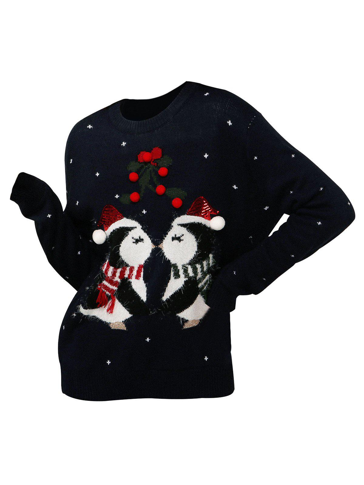 Shop Christmas Berry Funny Graphic Sequined Sweater