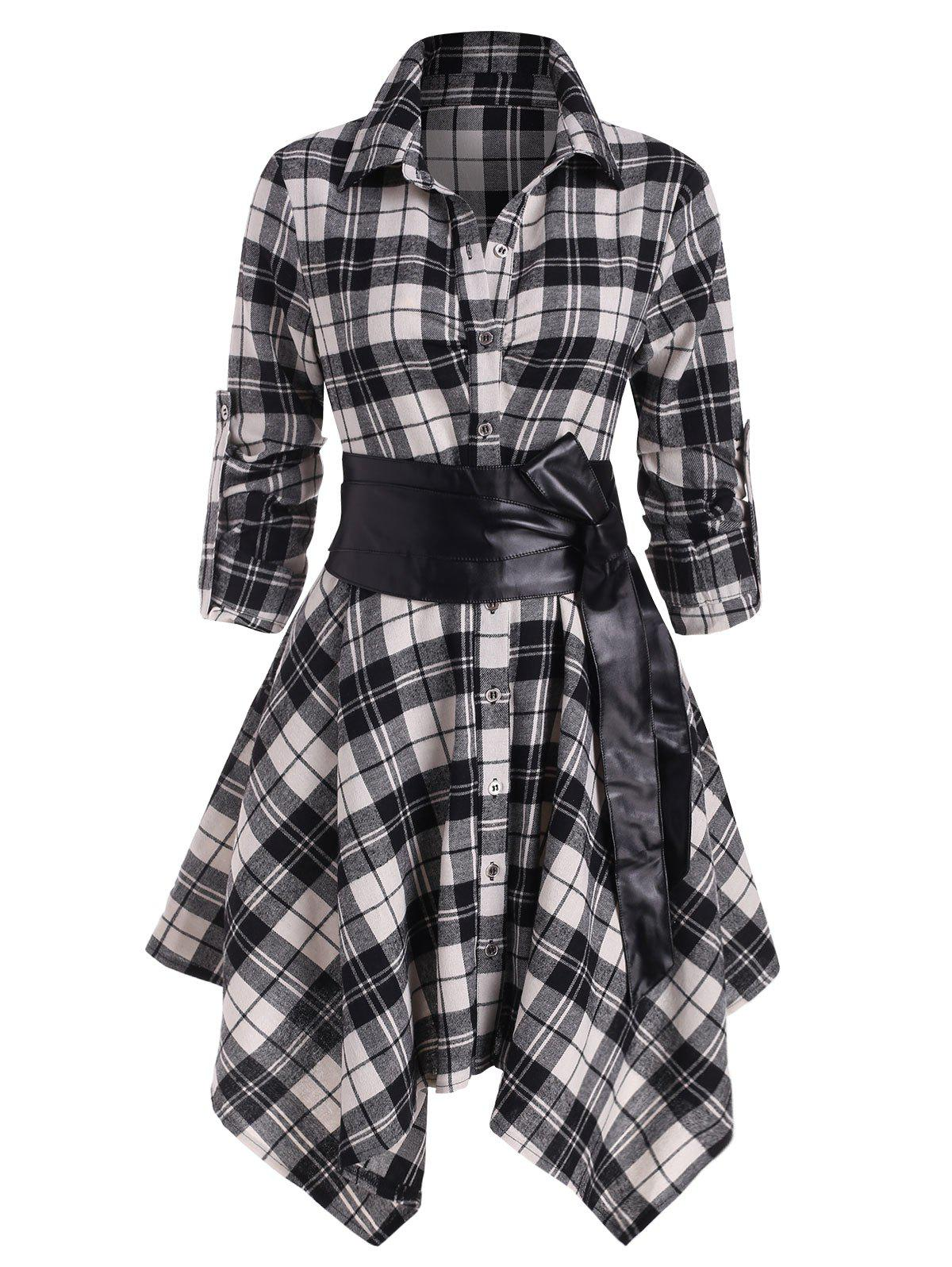 Hot Plaid Belted Roll Tab Sleeve Handkerchief Dress