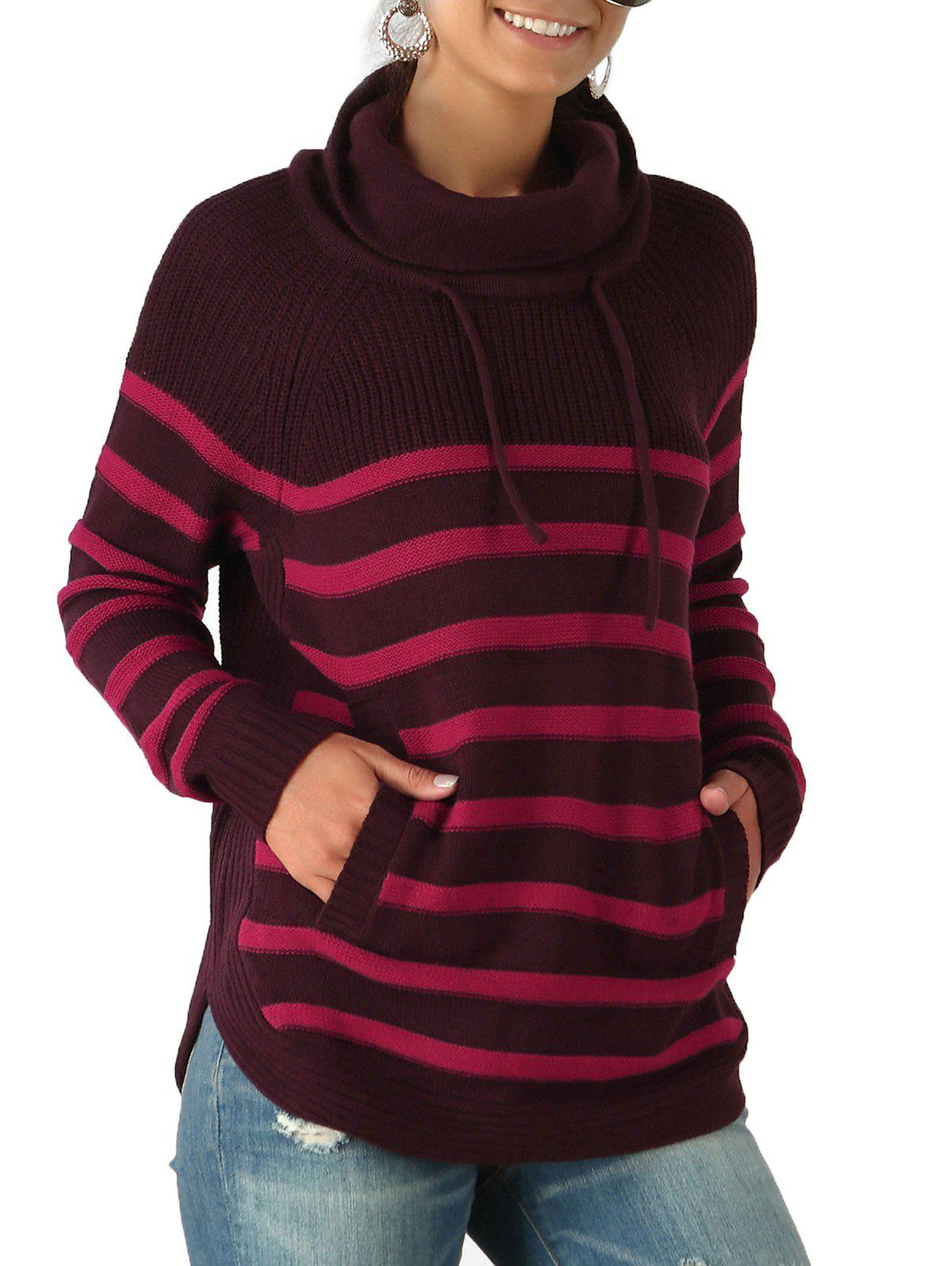 Outfits Striped Turtleneck Drawstring Pocket Sweater