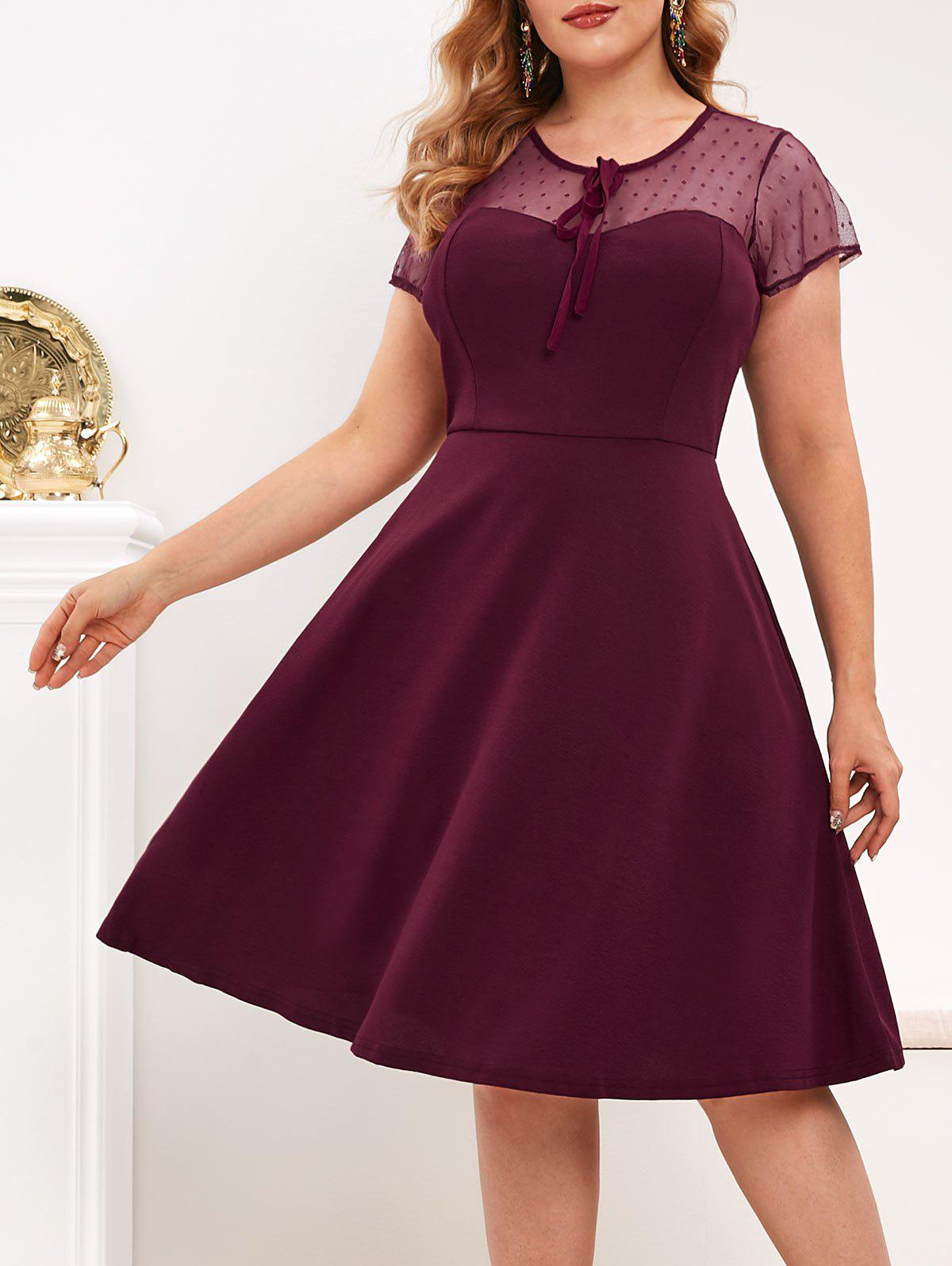 Sale Keyhole Back Dotted Mesh Tie Collar Plus Size Dress