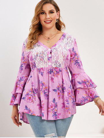 Plus Size Flower Lace Panel Layered Flare Sleeve Blouse