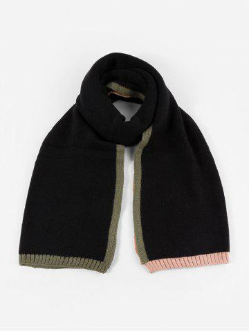 Colorblock Winter Knitted Scarf - BLACK